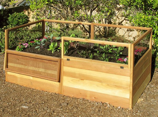 3 X6 Raised Garden Bed With Hinged Fencing